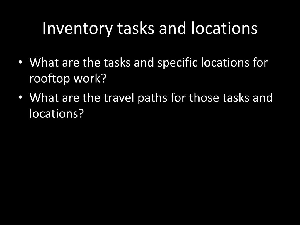 Inventory tasks and locations