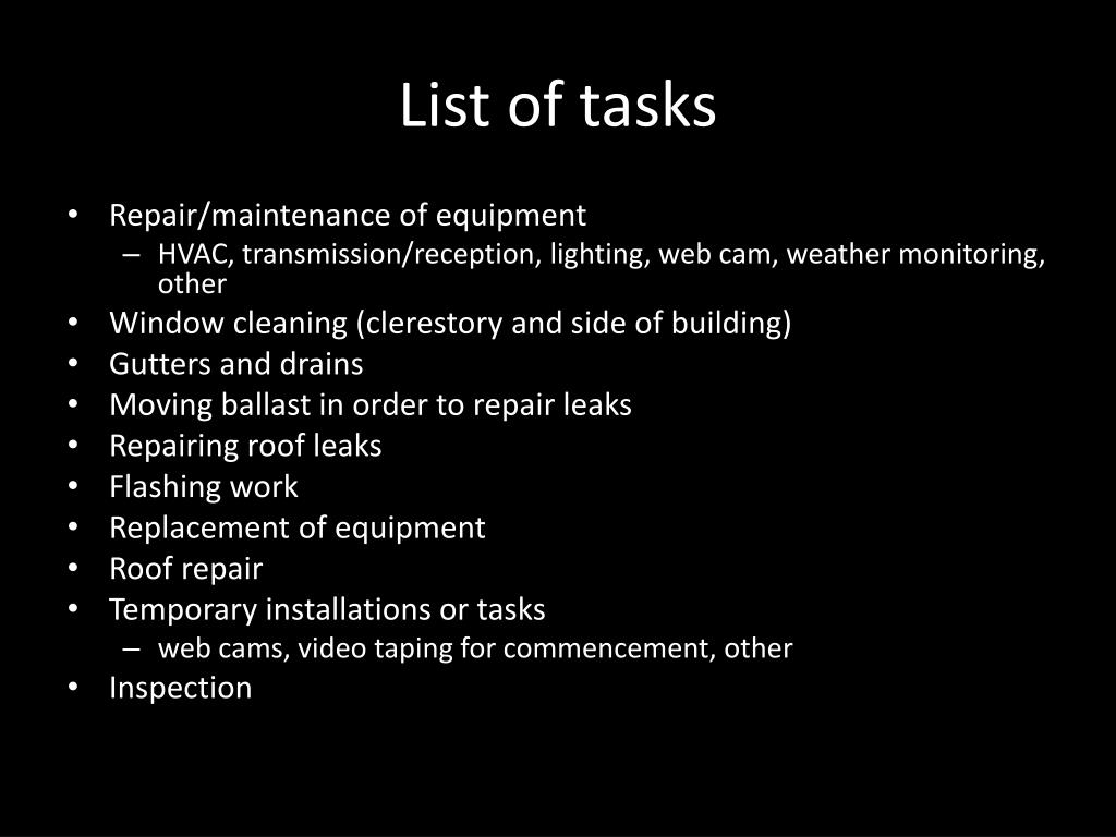 List of tasks