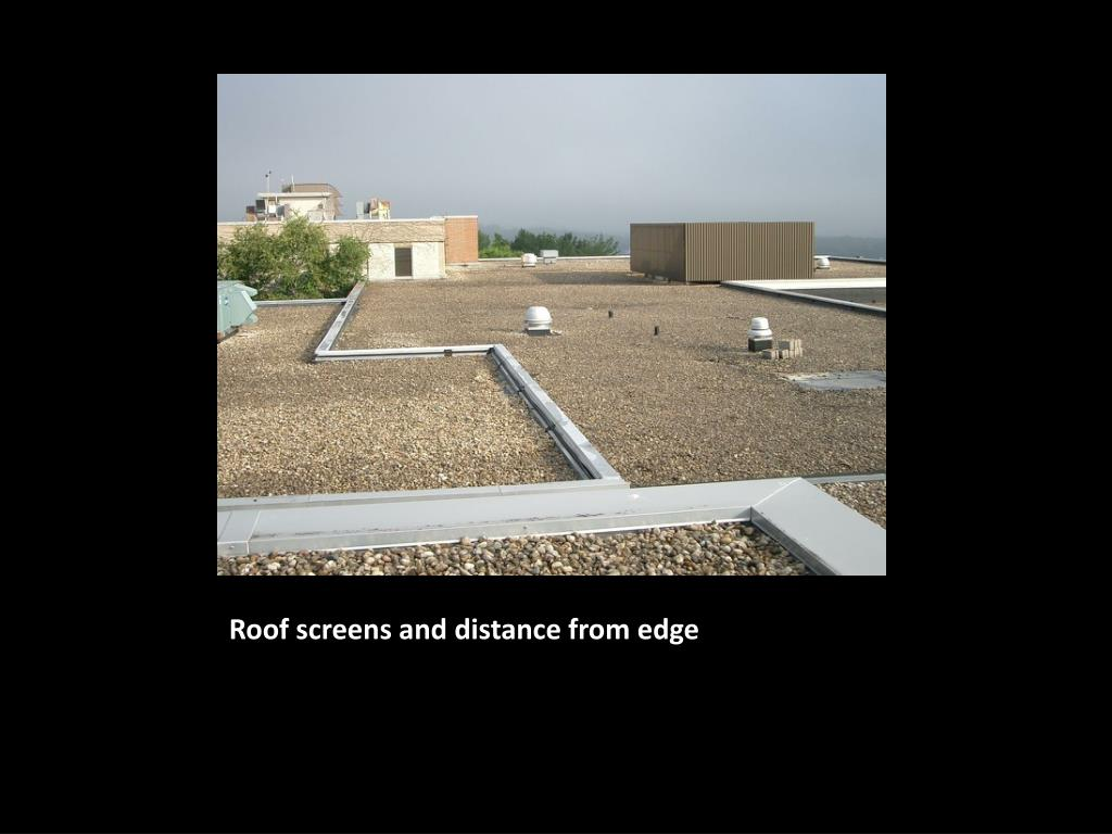 Roof screens and distance from edge