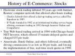 history of e commerce stocks