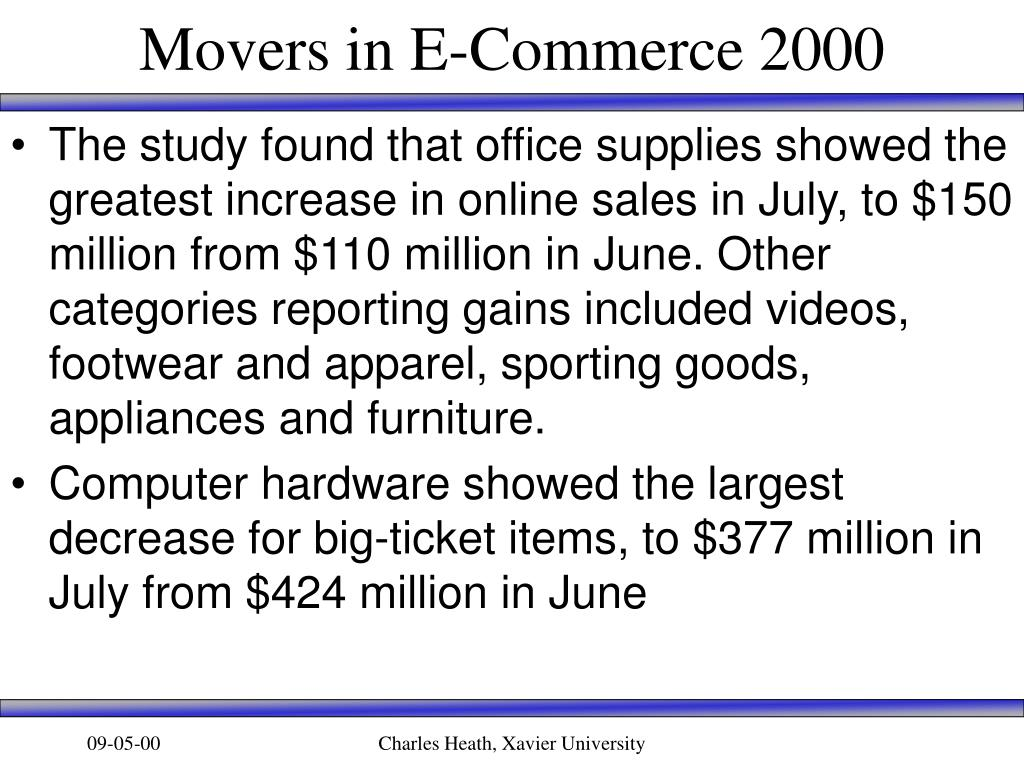 Movers in E-Commerce 2000