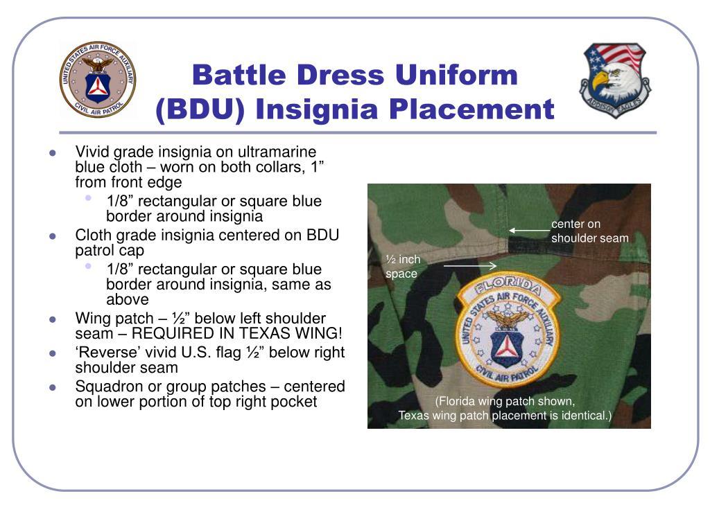 Battle Dress Uniform (BDU) Insignia Placement