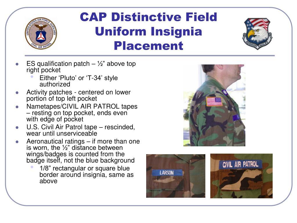 CAP Distinctive Field Uniform Insignia Placement