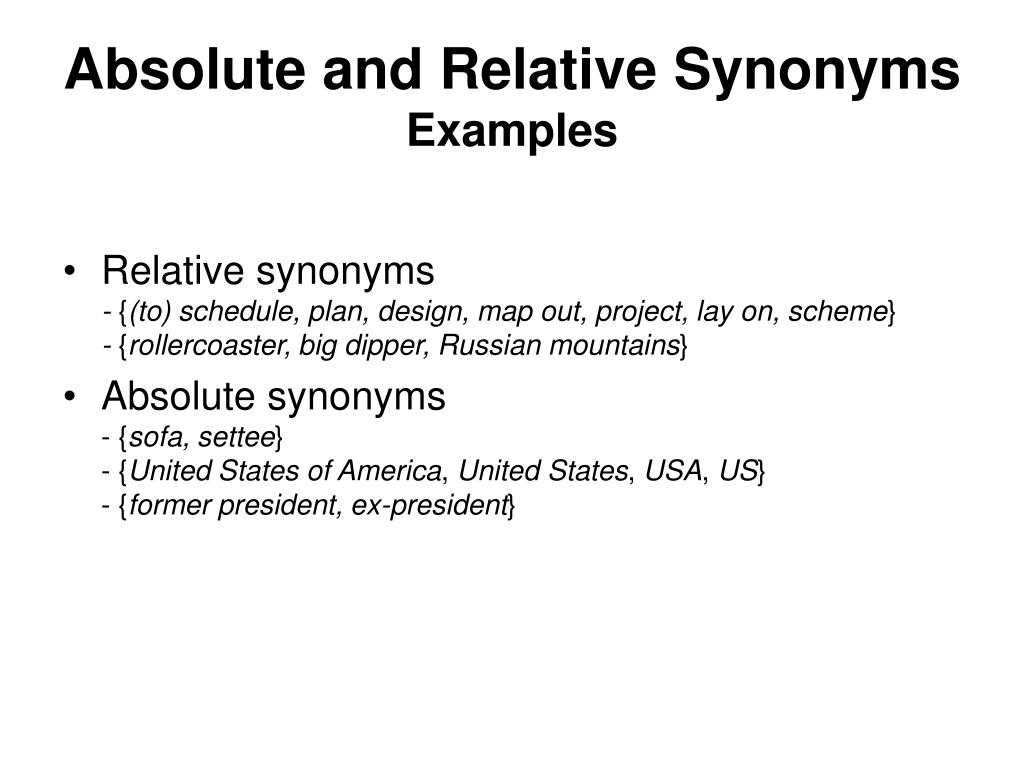 Absolute and Relative Synonyms