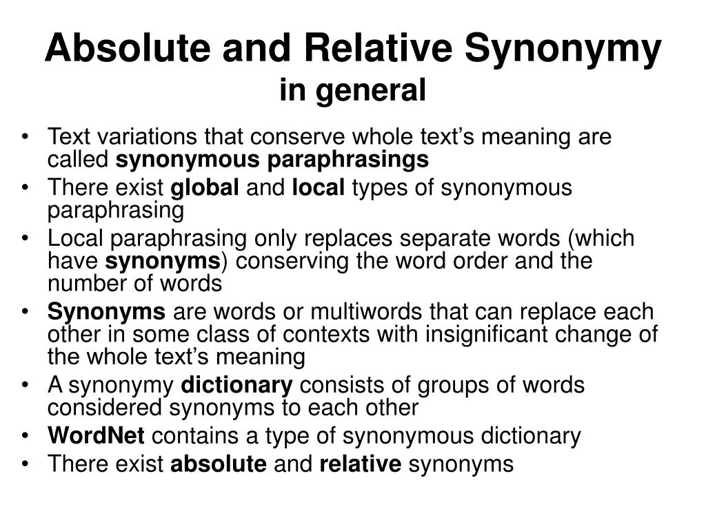 Absolute and Relative Synonymy