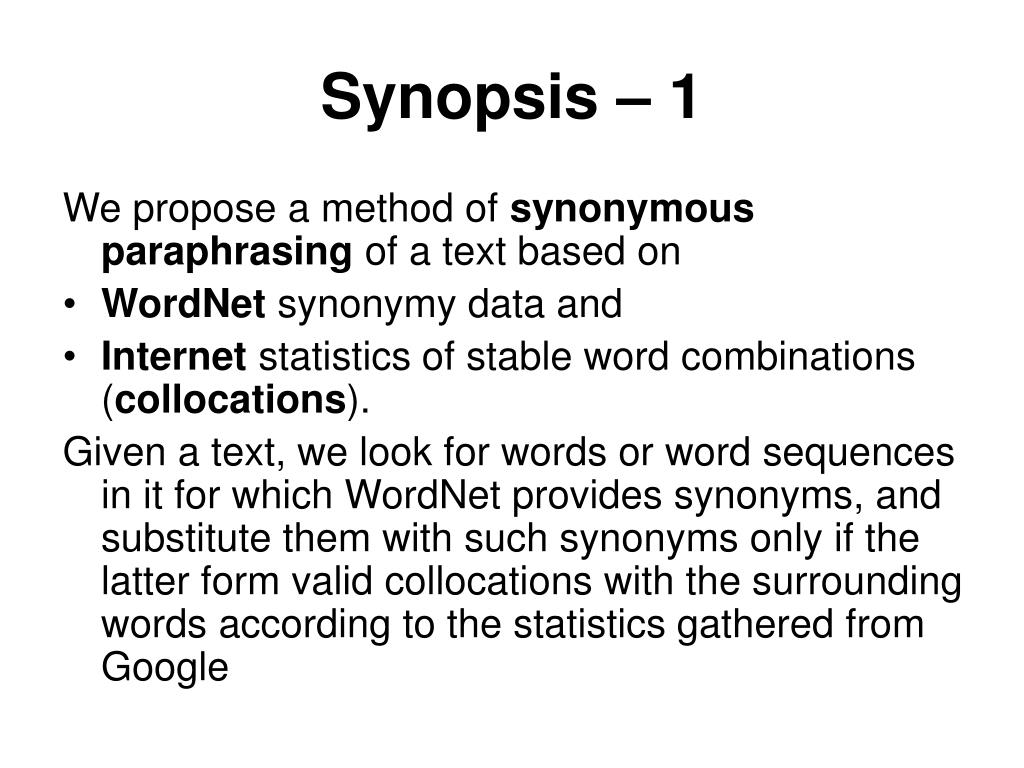 Synopsis – 1