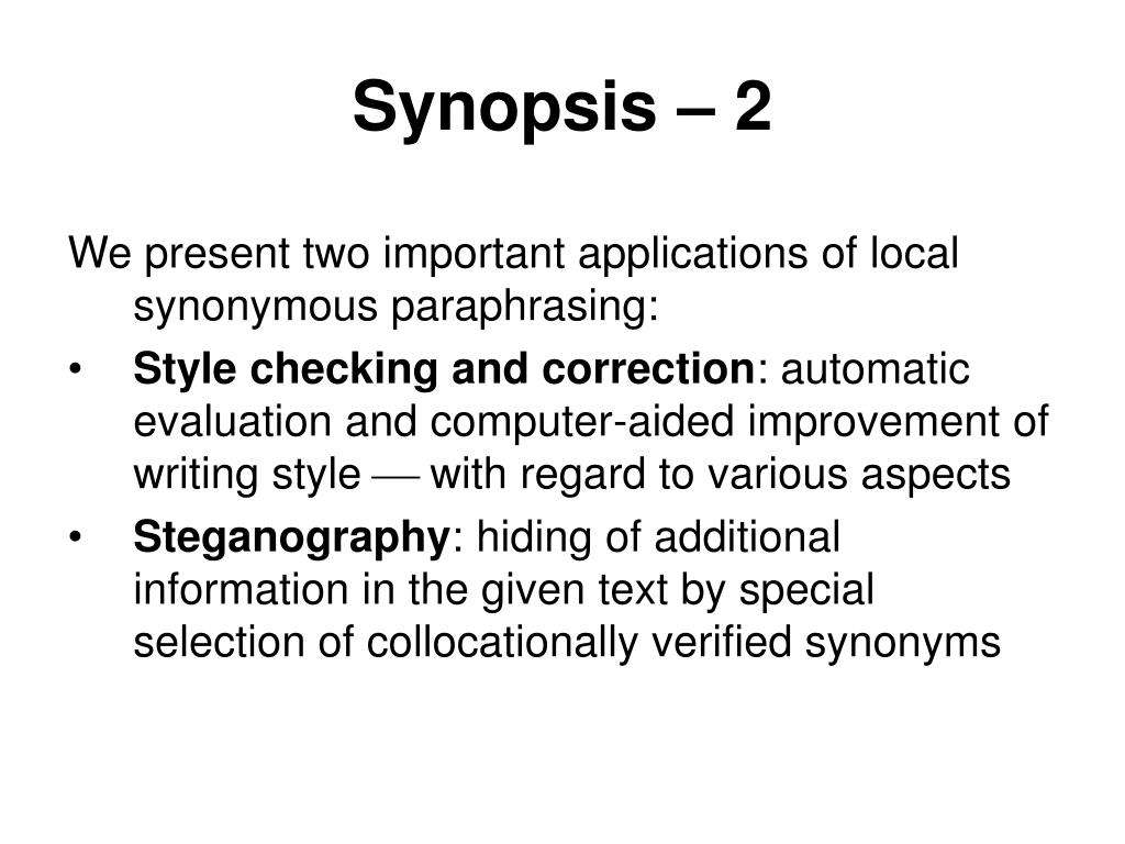 Synopsis – 2