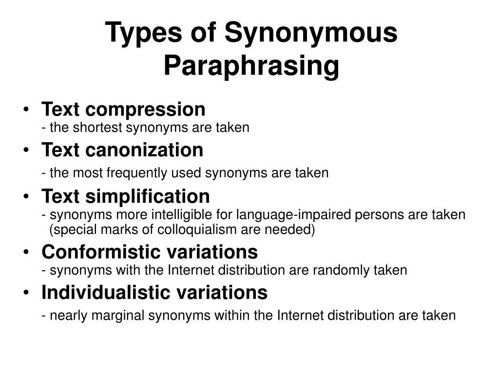 Types of Synonymous Paraphrasing