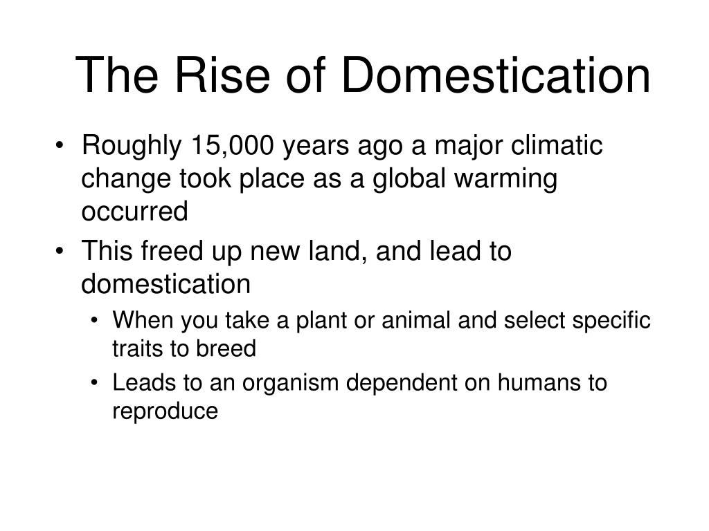 The Rise of Domestication