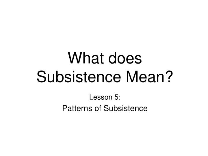 What does subsistence mean