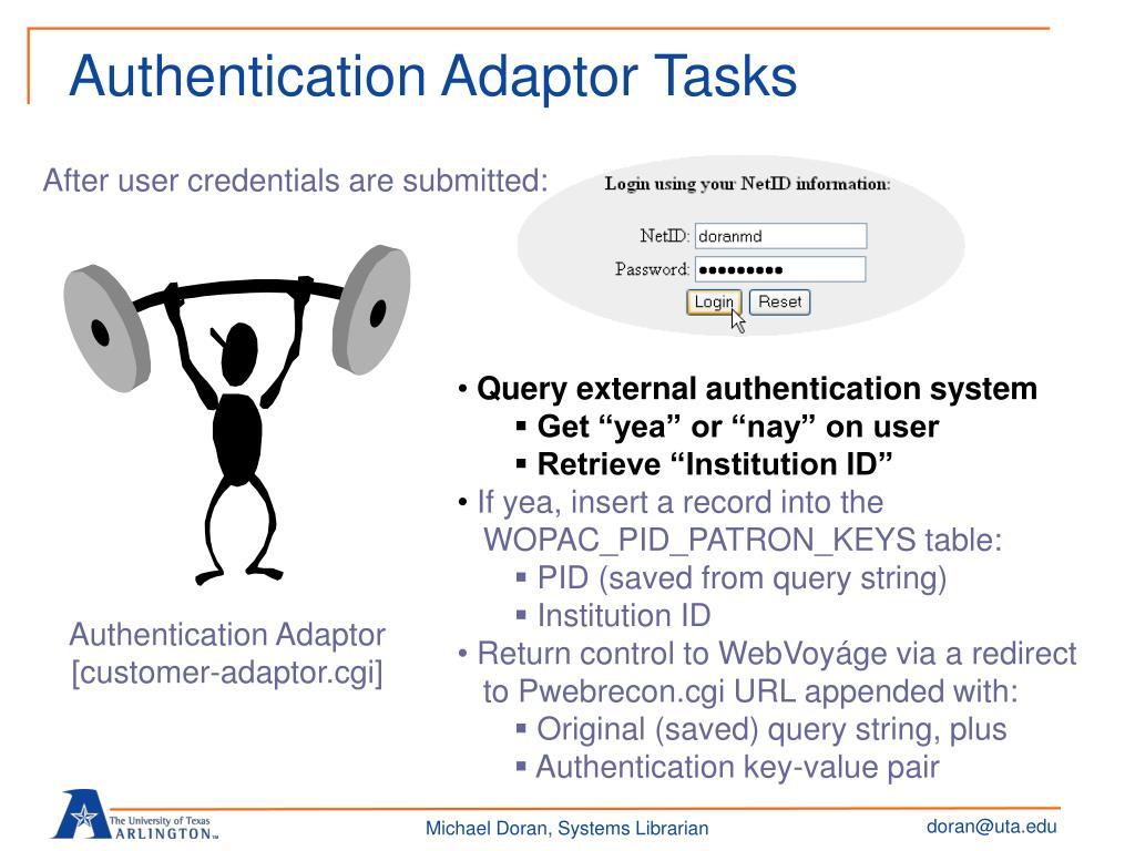 Authentication Adaptor Tasks
