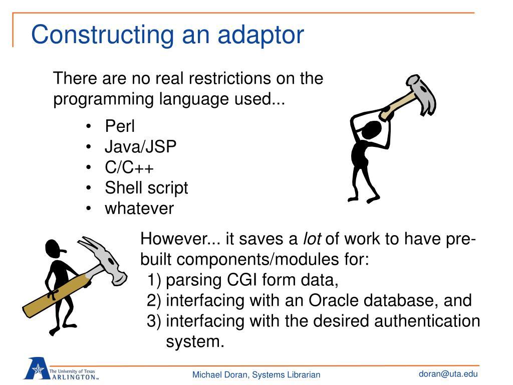 Constructing an adaptor
