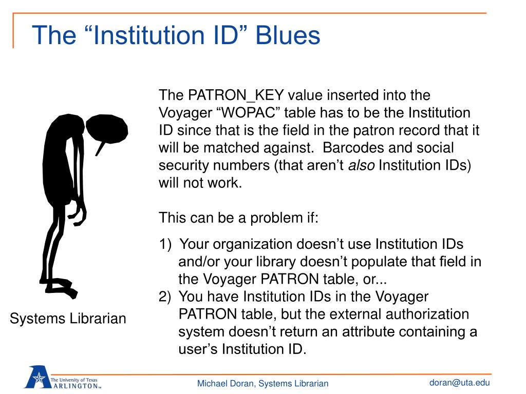 "The ""Institution ID"" Blues"