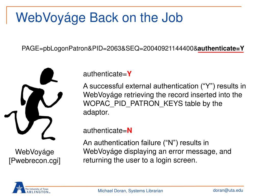WebVoyáge Back on the Job