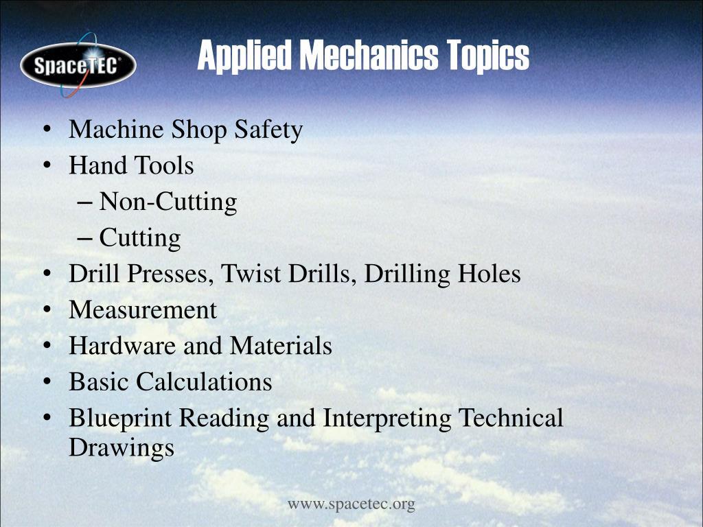 Applied Mechanics Topics