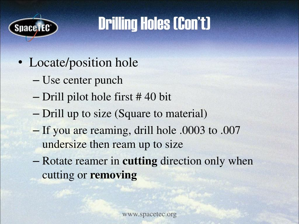 Drilling Holes (Con't)