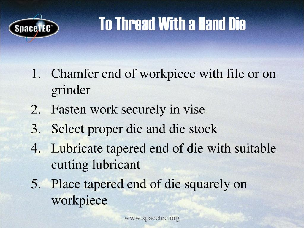To Thread With a Hand Die
