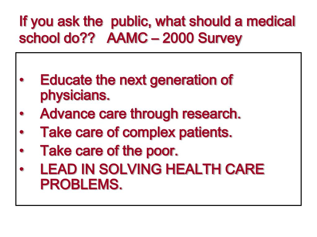 If you ask the  public, what should a medical school do??   AAMC – 2000 Survey