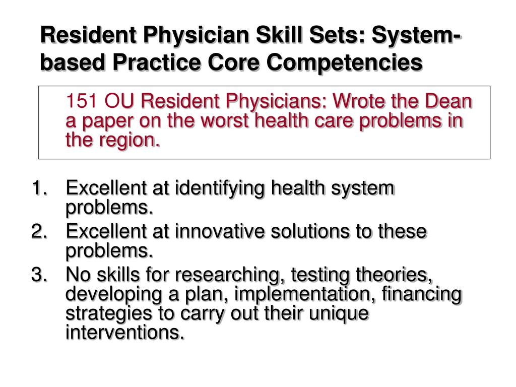 Resident Physician Skill Sets: System-based Practice Core Competencies