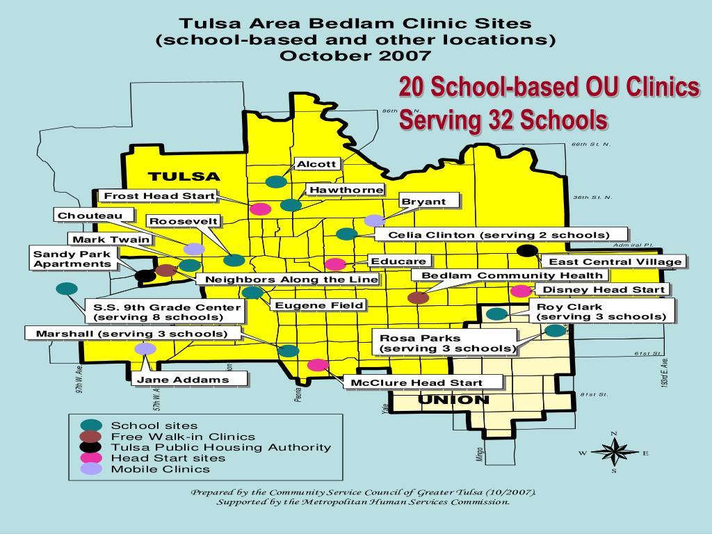 20 School-based OU Clinics Serving 32 Schools
