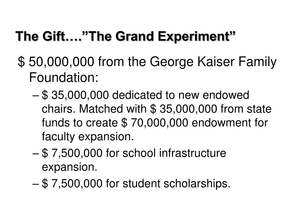 "The Gift….""The Grand Experiment"""