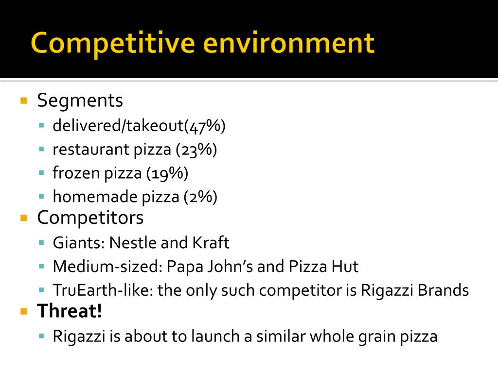 truearth healthy foods market research for Truearth healthy foods: market research for a new product introduction  should truearth enter the refrigerated pizza market and offer a healthy alternative to .