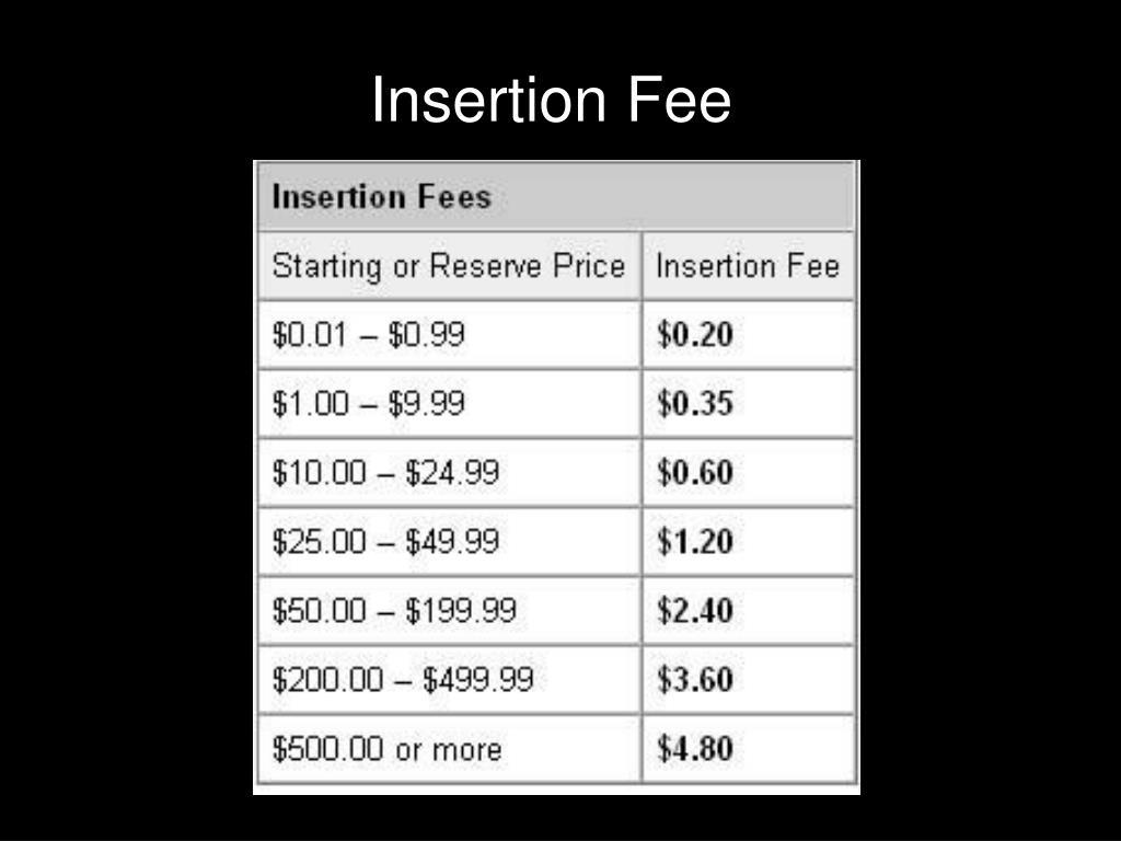 Insertion Fee