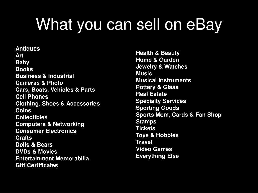 What you can sell on eBay