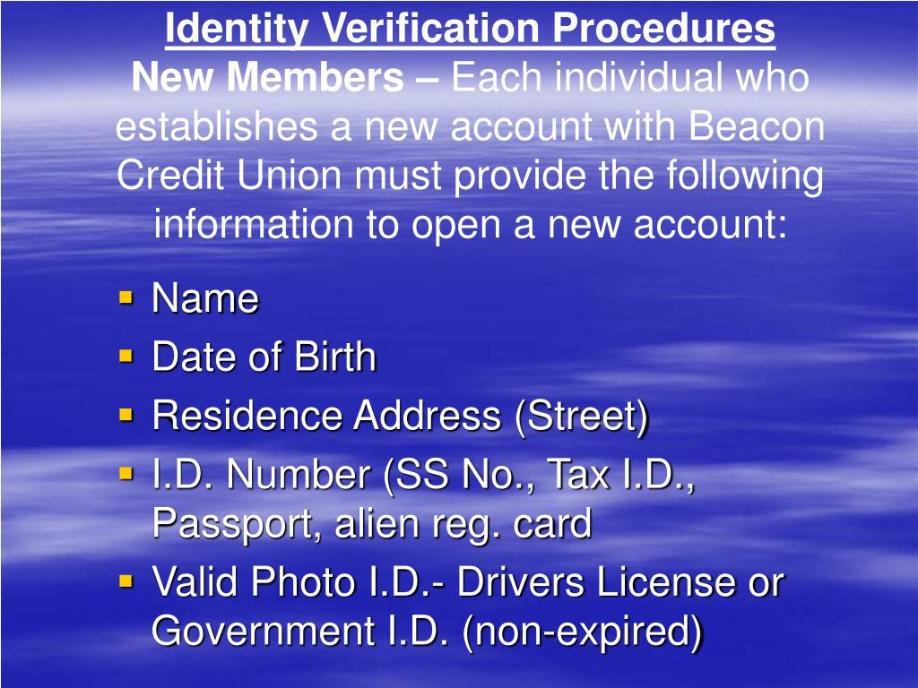 Identity Verification Procedures