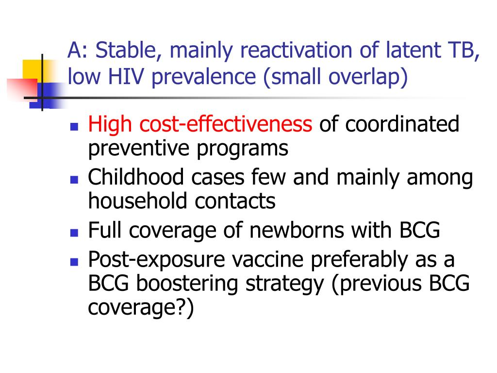 A: Stable, mainly reactivation of latent TB, low HIV prevalence (small overlap)