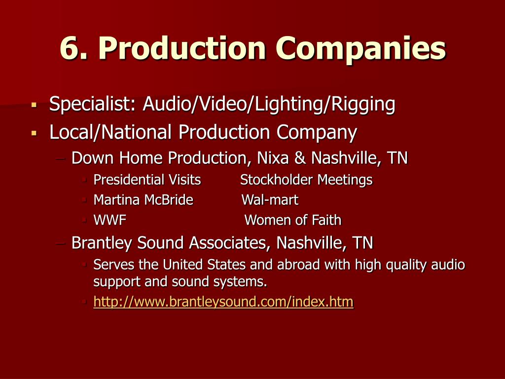 6. Production Companies