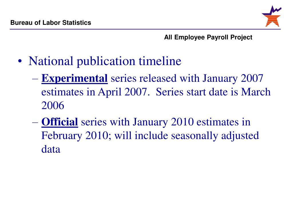National publication timeline