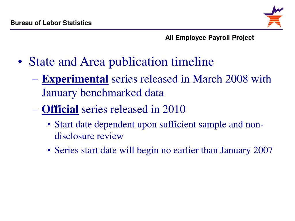 State and Area publication timeline