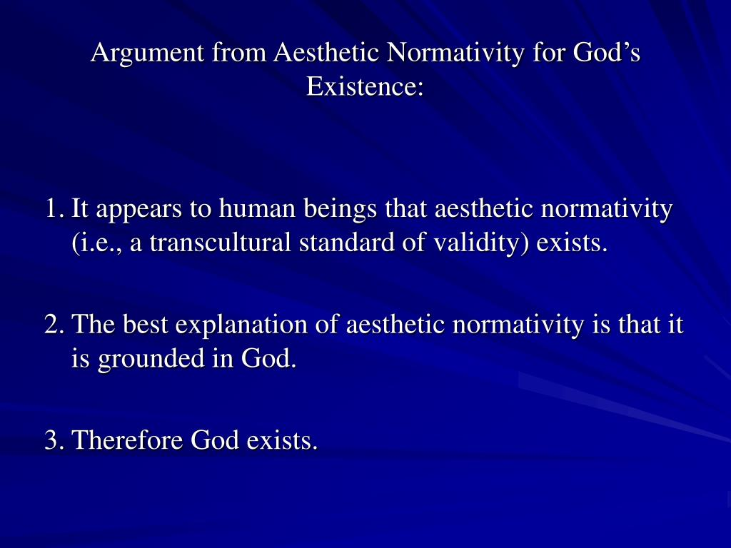 Argument from Aesthetic Normativity for God's Existence: