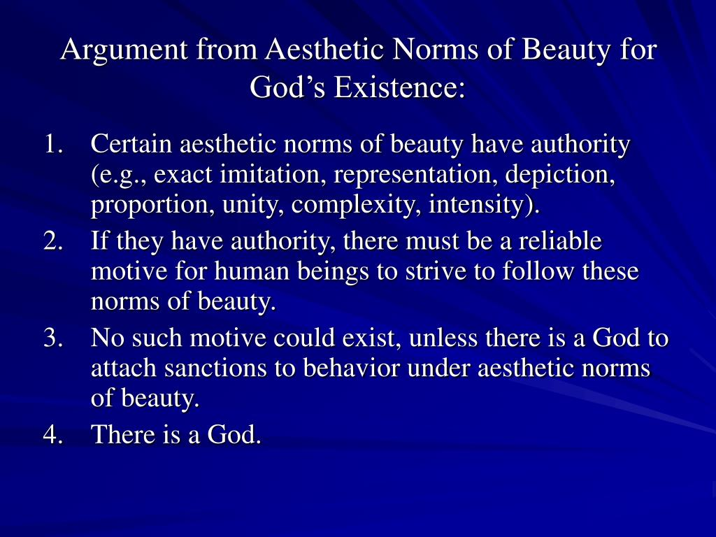 Argument from Aesthetic Norms of Beauty for God's Existence: