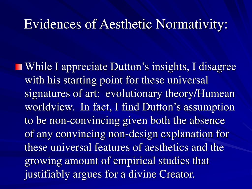 Evidences of Aesthetic Normativity: