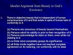 idealist argument from beauty to god s existence