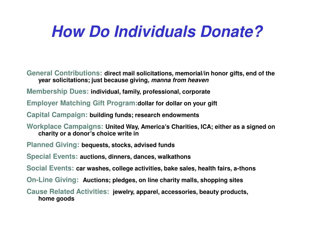 How Do Individuals Donate?
