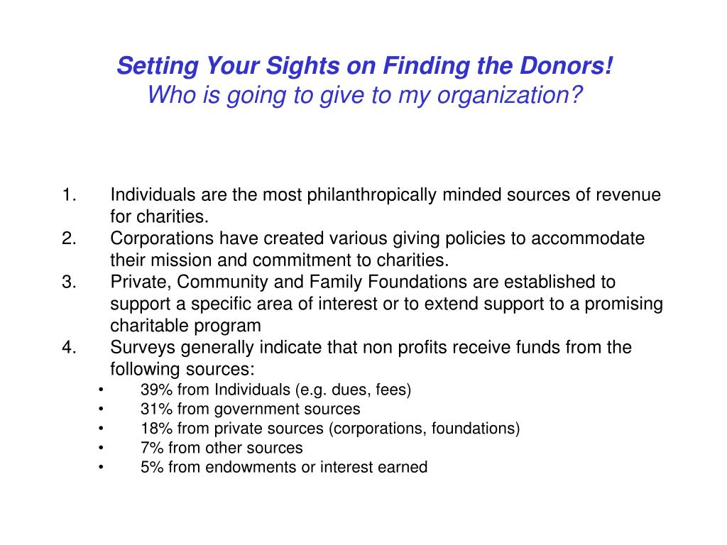 Setting Your Sights on Finding the Donors!