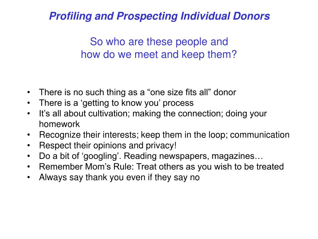 Profiling and Prospecting Individual Donors