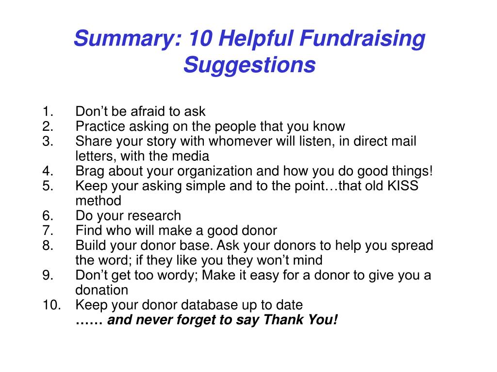 Summary: 10 Helpful Fundraising Suggestions
