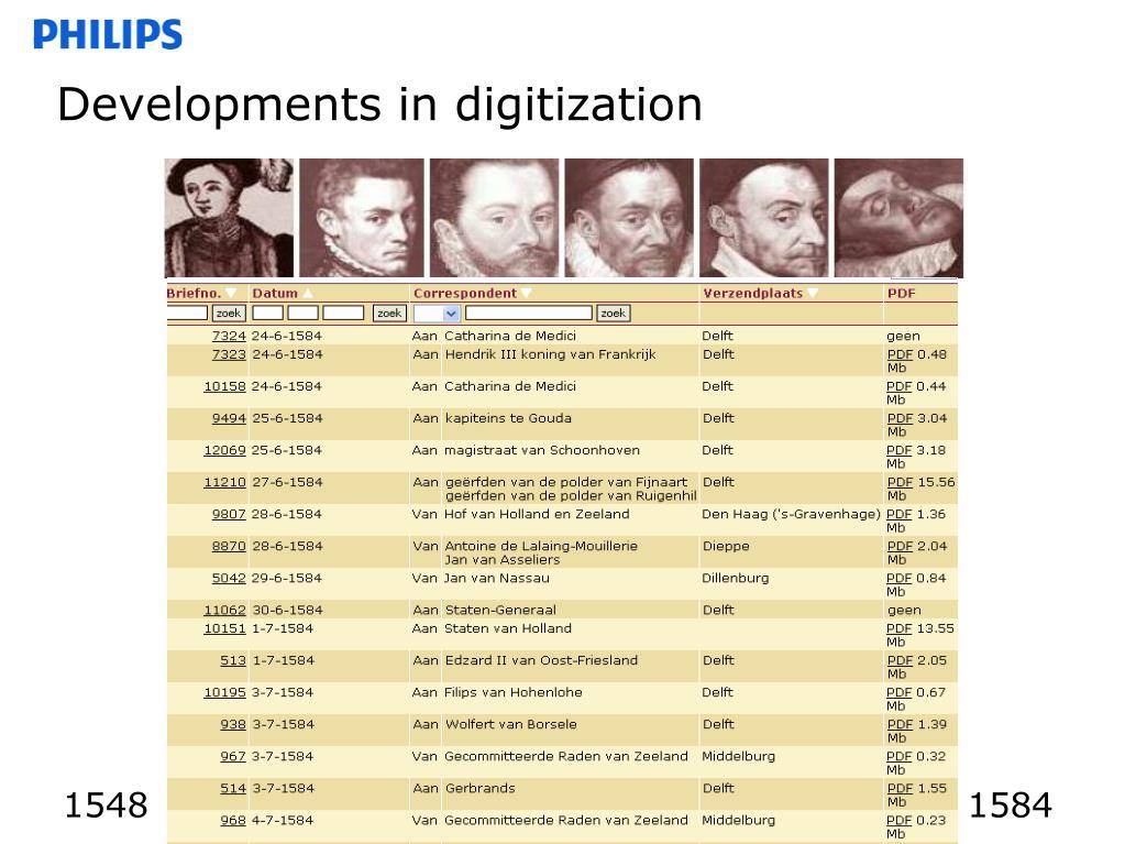 Developments in digitization