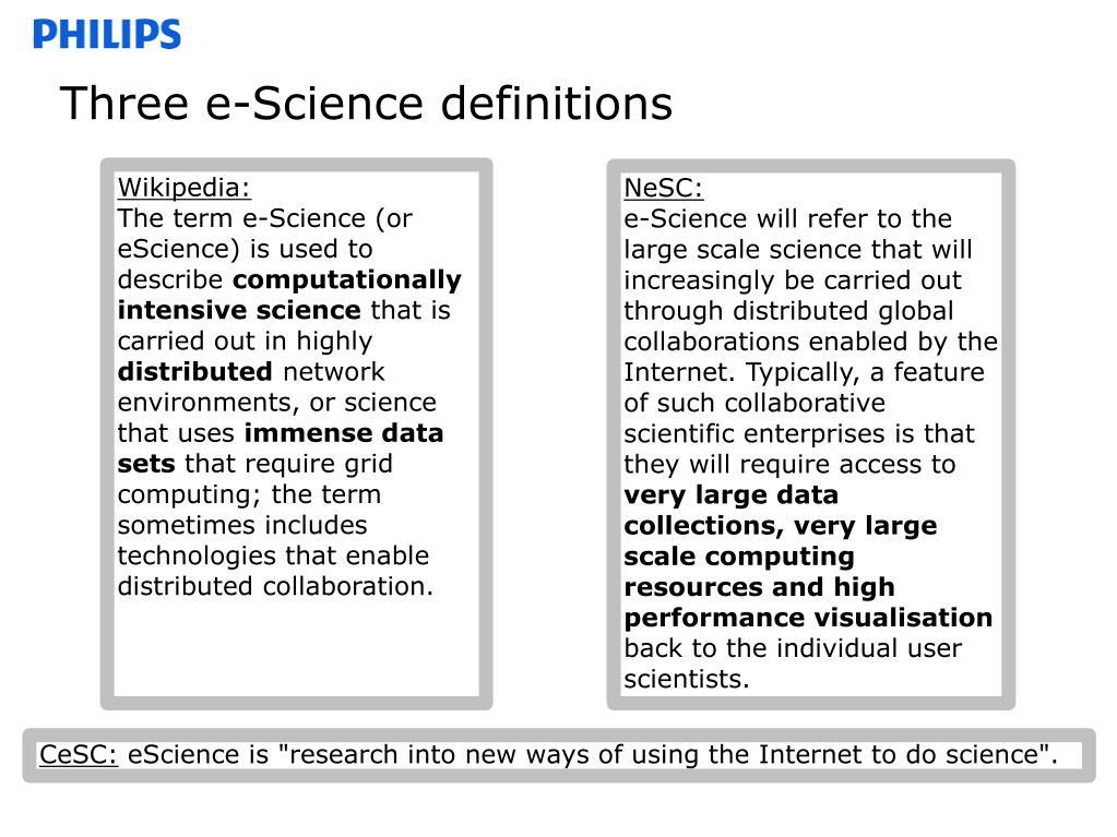 Three e-Science definitions