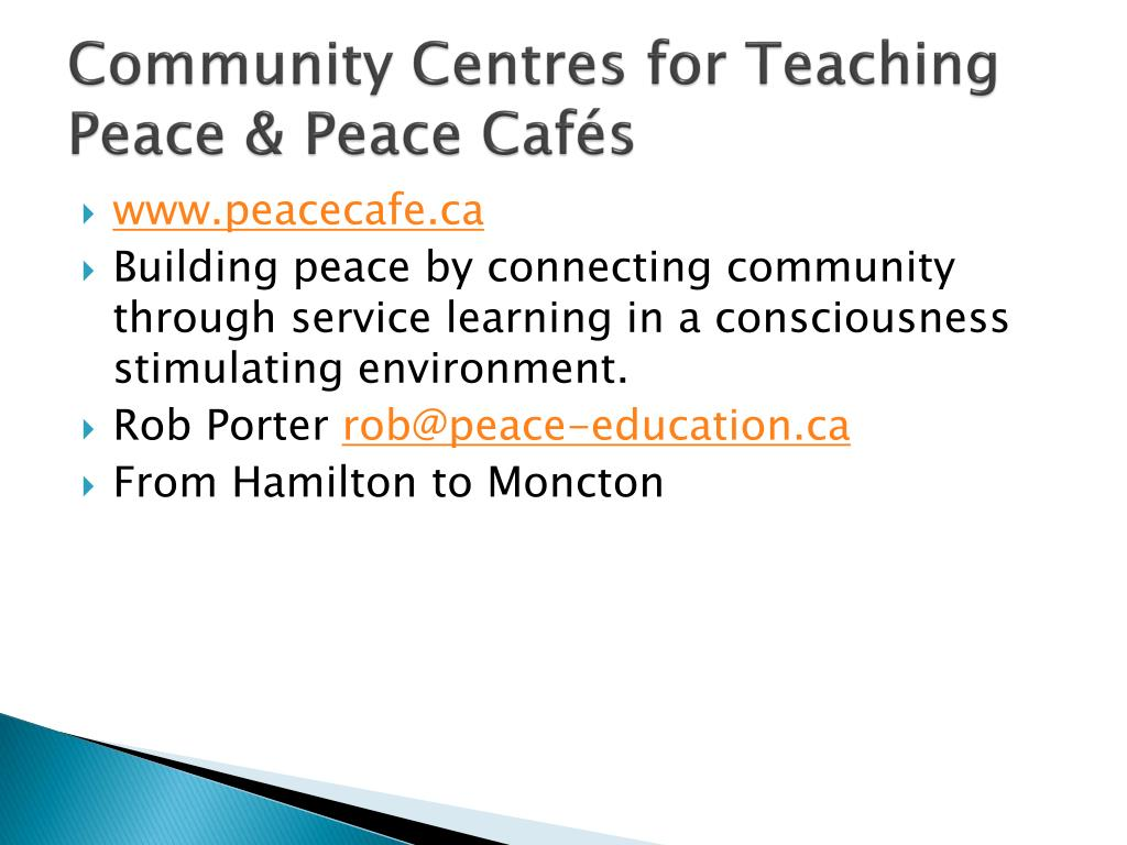 Community Centres for Teaching Peace & Peace Cafés