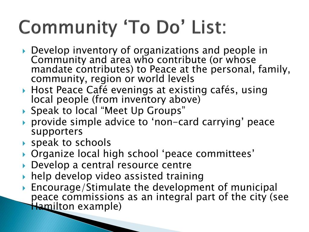 Community 'To Do' List: