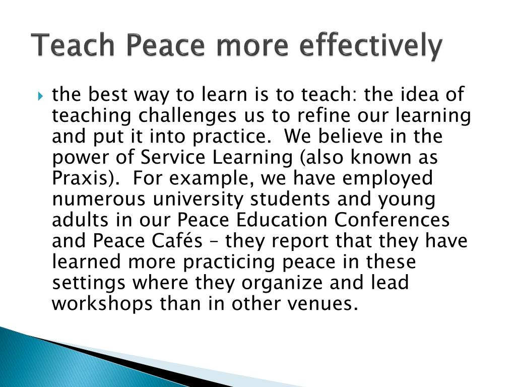 Teach Peace more effectively
