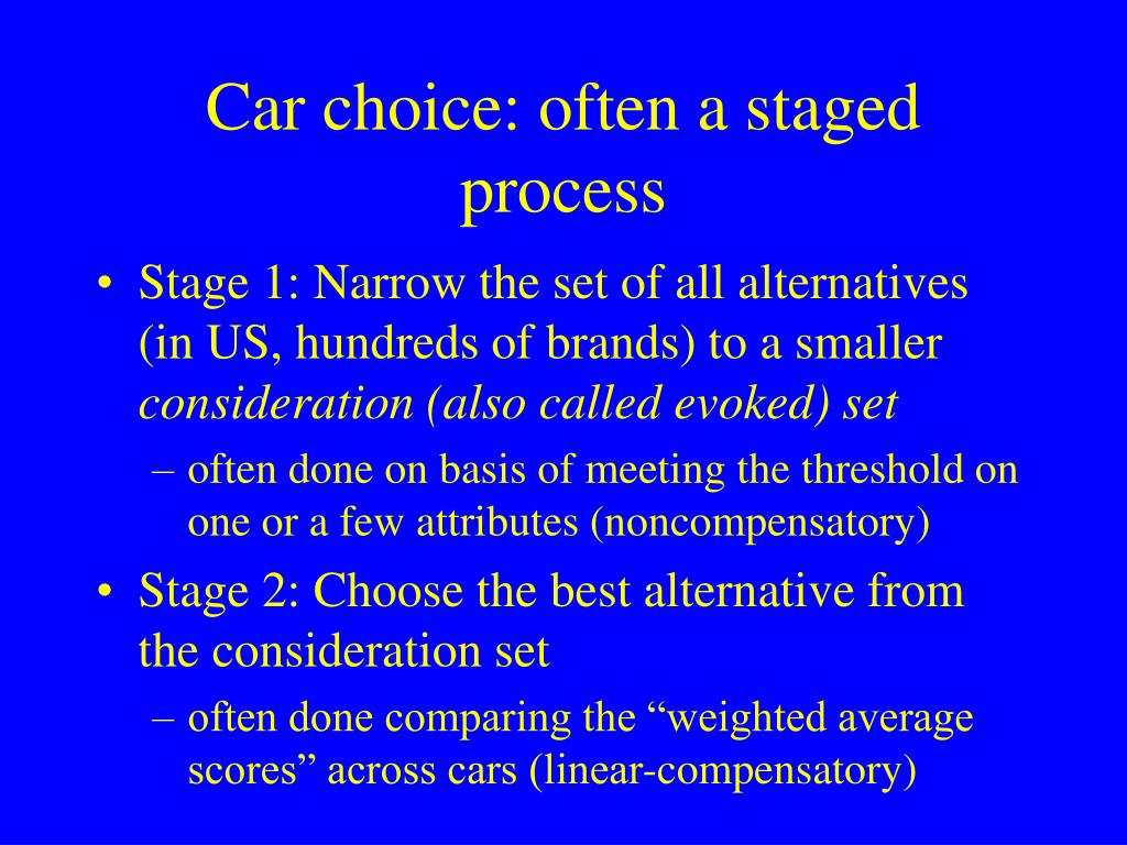 Car choice: often a staged process