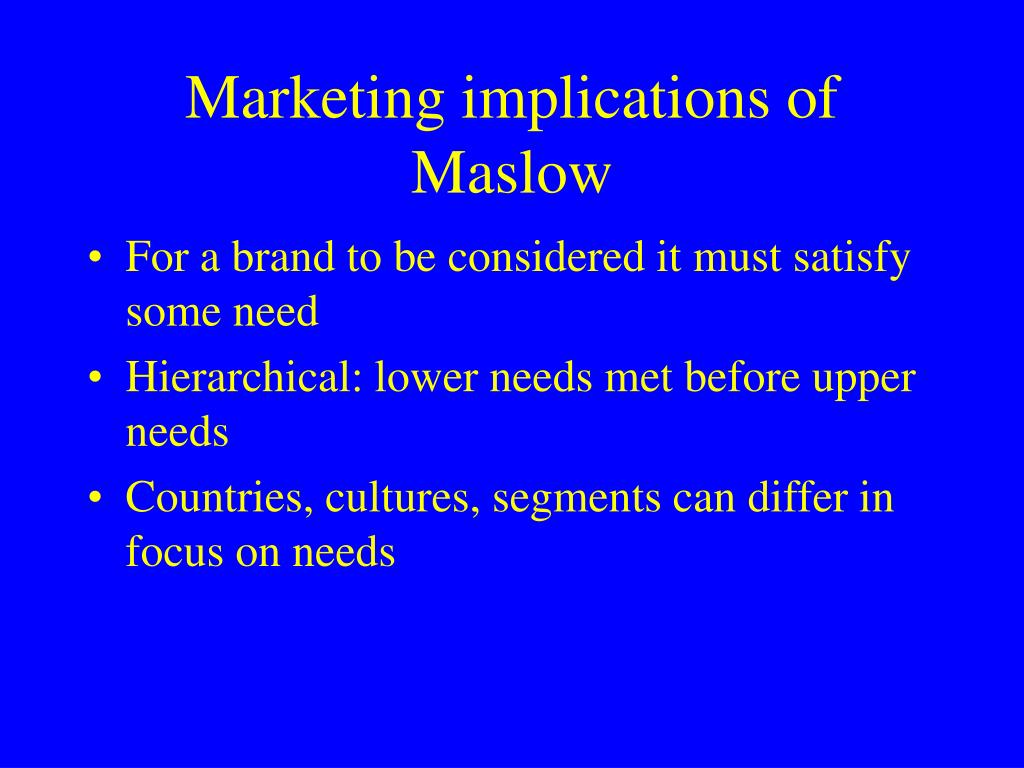 Marketing implications of Maslow