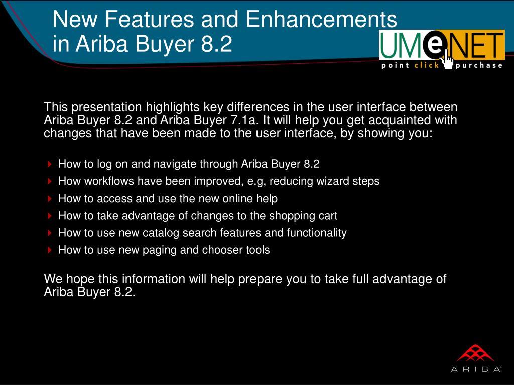 New Features and Enhancements in Ariba Buyer 8.2