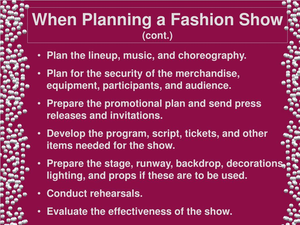 When Planning a Fashion Show
